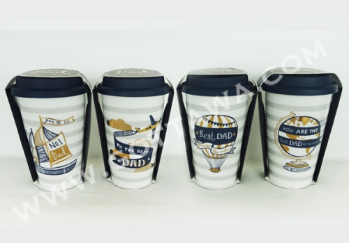 12oz new bone china double wall coffee mug with golden decal, with silicone lid, 1set/color sleeve