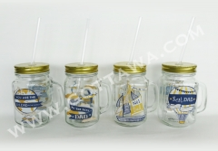 450ml glass mug with lid and drinking straw, bulk packing